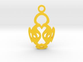 Bird Pendant in Yellow Processed Versatile Plastic
