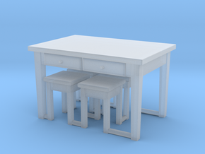 1:144 Scale Kitchen Table & 4 Stools in Frosted Ultra Detail