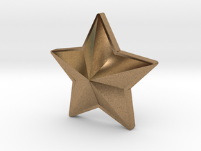 Hole Plug 0005 - star in Natural Brass