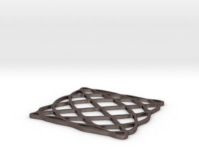 Lissajous coaster 4:5 pi/2 in Polished Bronzed Silver Steel