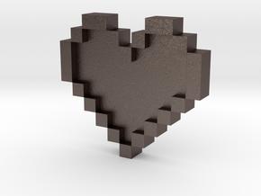 Pixel Heart in Polished Bronzed Silver Steel: Medium