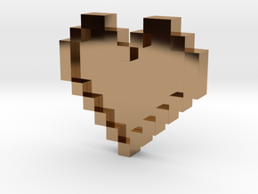 Pixel Heart in Polished Brass: Medium