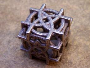 Rosette D6 Dice  in Stainless Steel