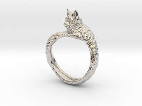 Cat Ring in Rhodium Plated Brass: 9 / 59