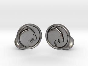 Black Panther Cufflinks in Polished Nickel Steel