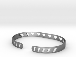 Sleek Heart Bracelet in Polished Silver