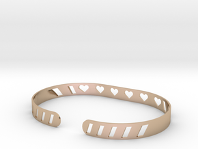 Sleek Heart Bracelet in 14k Rose Gold Plated Brass