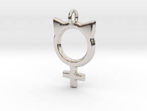 Female Symbol with Cat Ears in Rhodium Plated Brass