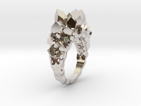 Crystal Ring size 6,5 in Rhodium Plated