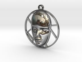 Personalised Womans Face Voronoi Pendant in Fine Detail Polished Silver