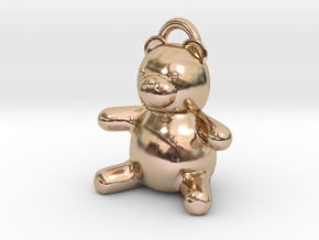 Tiny Teddy Bear w/loop in 14k Rose Gold Plated Brass