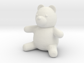 Tiny Teddy Bear (no loop) in White Natural Versatile Plastic