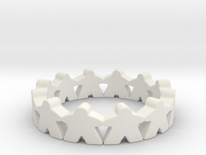 Meeple Ring Size 7 in White Natural Versatile Plastic