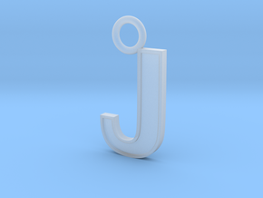Letter J Key Ring Charm in Smooth Fine Detail Plastic