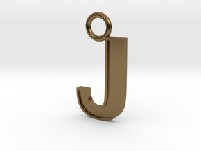 Letter J Key Ring Charm in Polished Bronze