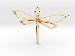 Dragonfly Wire Pendant in 14K Yellow Gold
