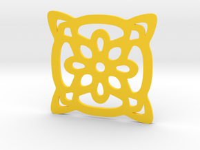 Cup coaster - pattern II in Yellow Processed Versatile Plastic