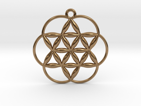 """Flowering Seed of Life Pendant 1"""" in Natural Brass"""