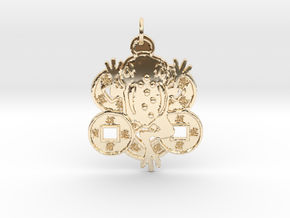 3 Legged Toad Jin Chan Feng Shui Pendant in 14K Yellow Gold