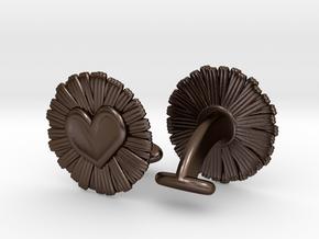 Daisy Heart Cufflinks in Polished Bronze Steel