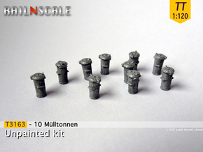 10 Mülltonnen (TT 1:120) in Smooth Fine Detail Plastic
