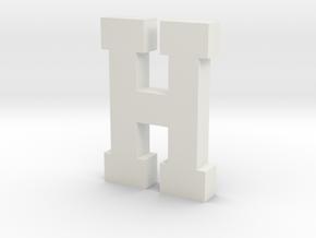 Decorative Letter H in White Natural Versatile Plastic