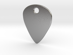 Metal Guitar Pick Pendant 1mm in Natural Silver