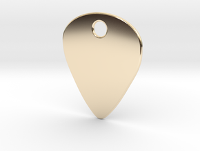 Metal Guitar Pick Pendant 1mm in 14k Gold Plated Brass