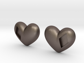 Diamond Kissed Heart Earrings (front pieces only) in Polished Bronzed Silver Steel: Extra Small