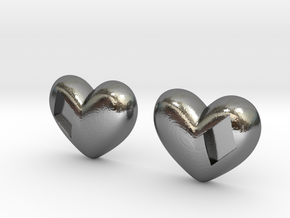 Diamond Kissed Heart Earrings (front pieces only) in Polished Silver: Extra Small