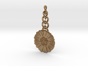 Daisy Keychain Charm in Natural Brass (Interlocking Parts)
