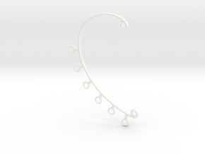 Ear Cuff in White Processed Versatile Plastic