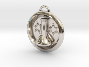 Volumetric Flask Medalion in Rhodium Plated Brass