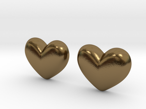 Batman Kisses Heart Earrings (front pieces only) in Polished Bronze: Extra Small