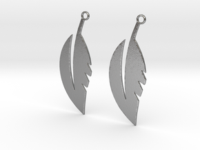 Feather Earrings in Natural Silver