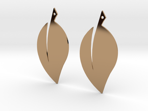 Leaf Earrings V2 in Polished Brass