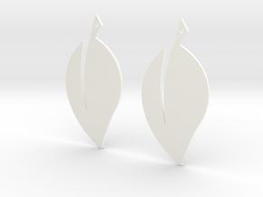 Leaf Earrings V2 in White Processed Versatile Plastic
