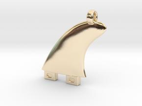 Surfboard fin jewel in 14k Gold Plated Brass