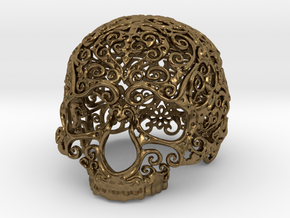 Intricate Filigree Skull 5cm in Natural Bronze