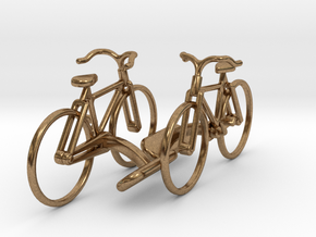 Bicycle Cufflinks in Natural Brass