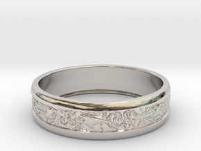 Ring two fish in Rhodium Plated Brass