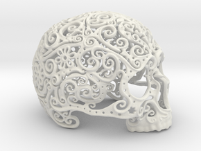 Intricate Filigree Skull 15cm in White Natural Versatile Plastic
