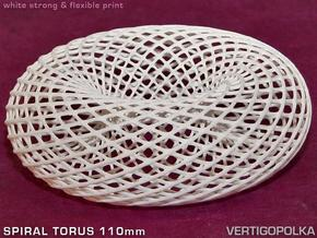 Spiral Torus 110mm in White Natural Versatile Plastic