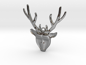 Deer head with antlers - Pendant in Polished Silver
