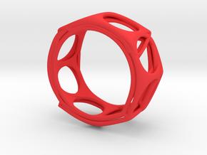 Voronoi Alphabet Bracelet (001) in Red Processed Versatile Plastic