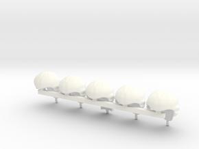 5 x Periwig in White Processed Versatile Plastic