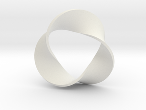 0158 Mobius strip (p=3, d=10cm) #006 in White Premium Versatile Plastic