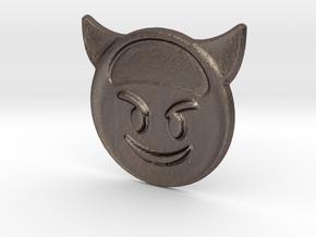 Evil Emoji Pendant in Polished Bronzed Silver Steel