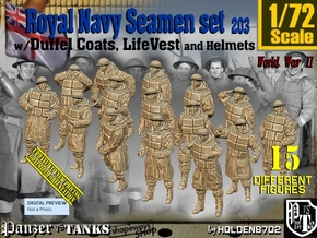 1/72 Royal Navy D-Coat+Lifevst Set203 in Smooth Fine Detail Plastic