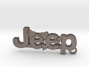 Jeep Keychain in Polished Bronzed Silver Steel